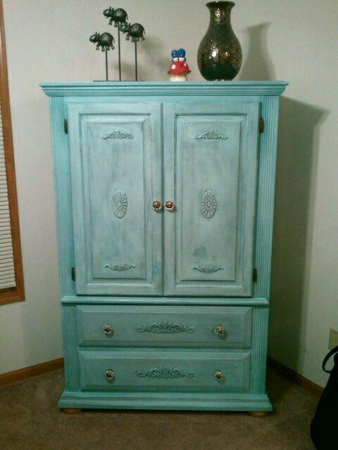 Refurbished armoir added wooden appliques stuff i made - Refurbished living room furniture ...