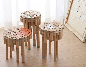 Chopped wood stools