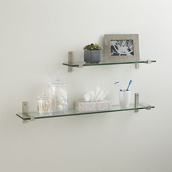 Styles Glass Shelf With Brushed Silver Brackets Floating Shelves Bathroom Glass Shelves Decor Floating Shelf Decor