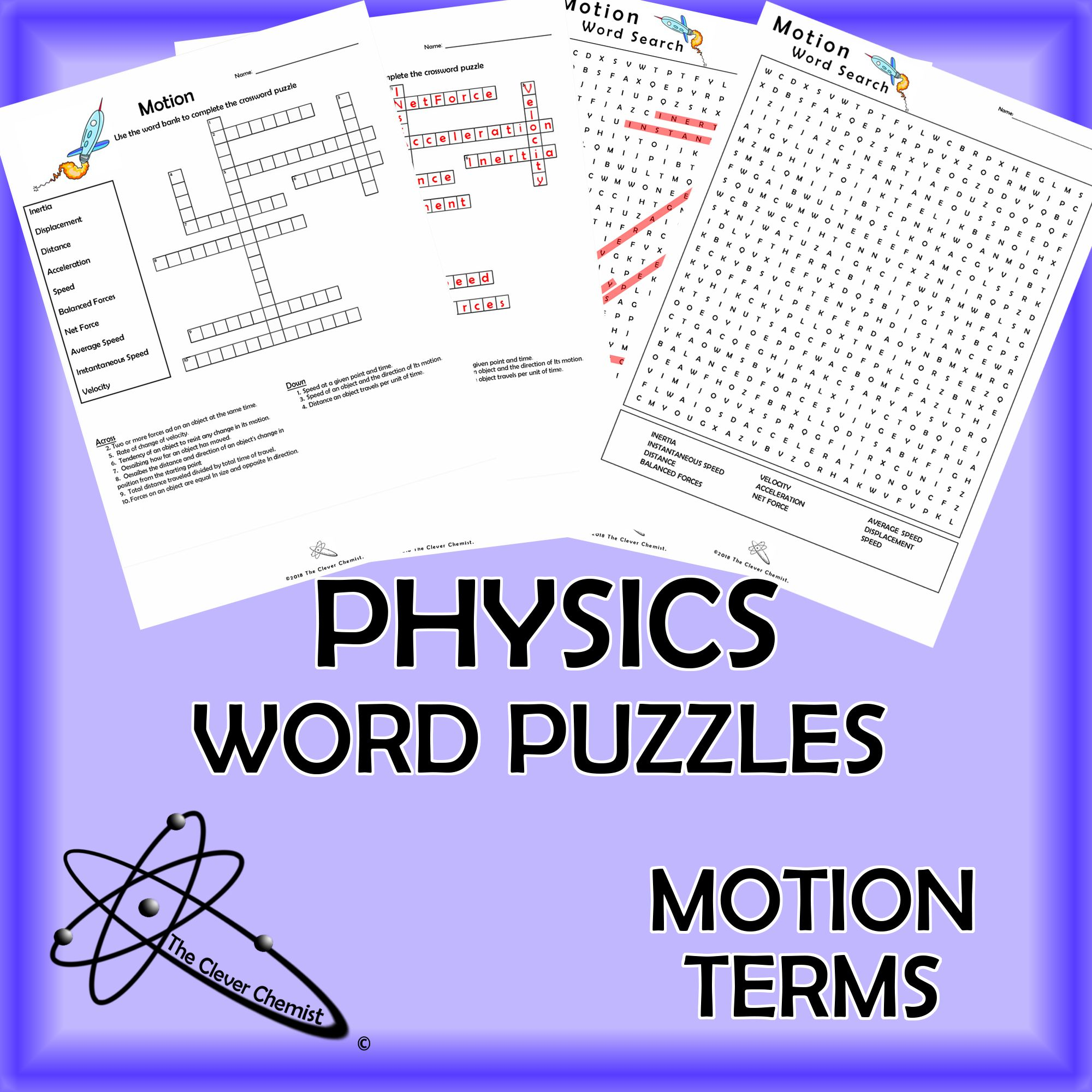 Physics Word Puzzles - Motion Terms | Physics | Word puzzles