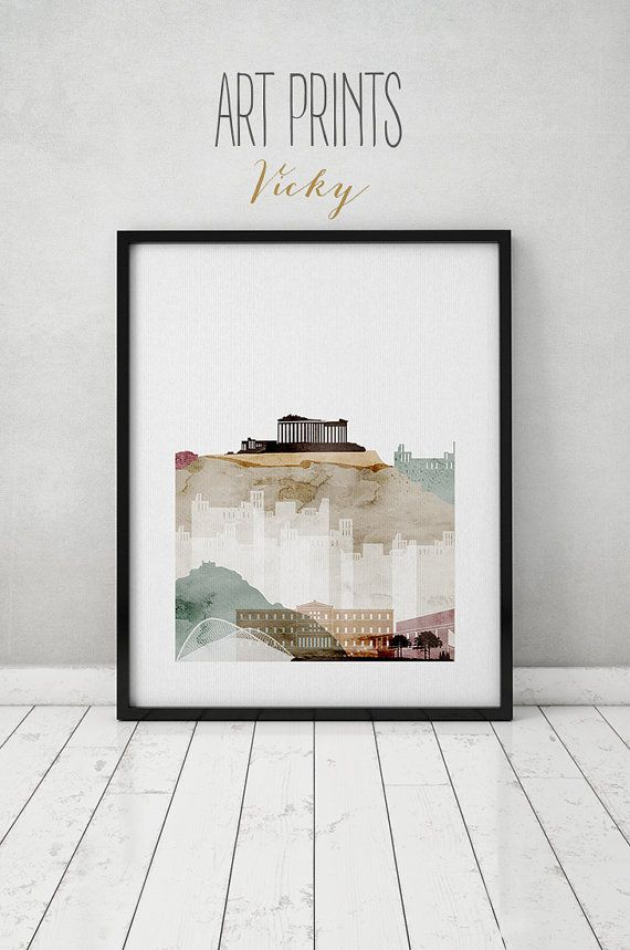 Athens Watercolor Print Watercolor Poster Wall Art Athens