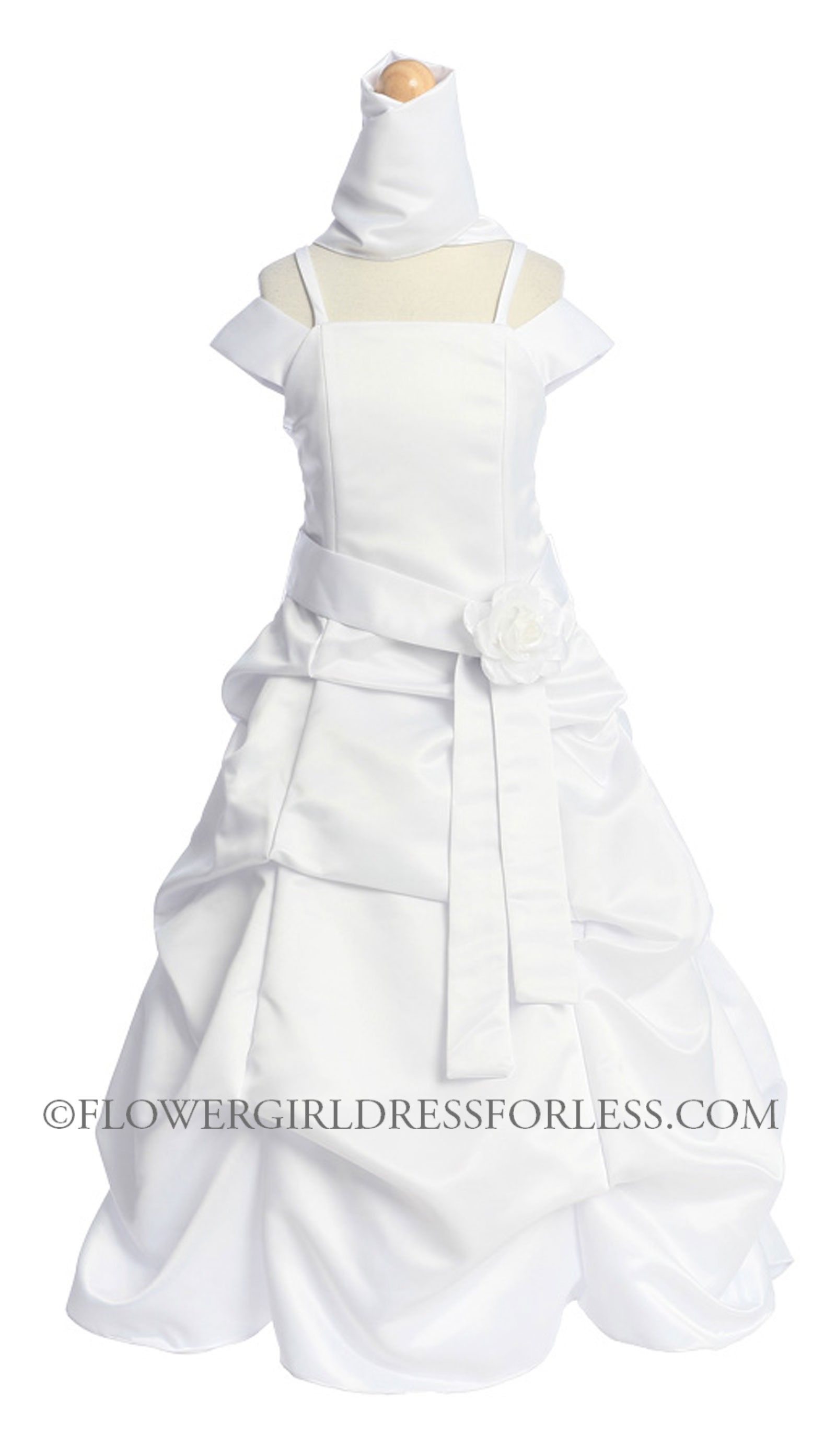 Girls dress style white dress with choice of sashes and