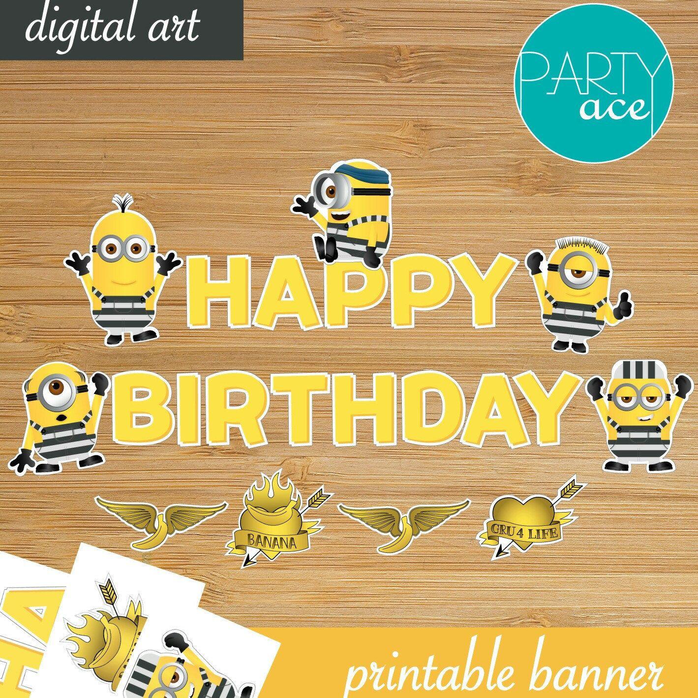 "Minions Prison ""Happy Birthday"" Banner Despicable Me 3 Printable"