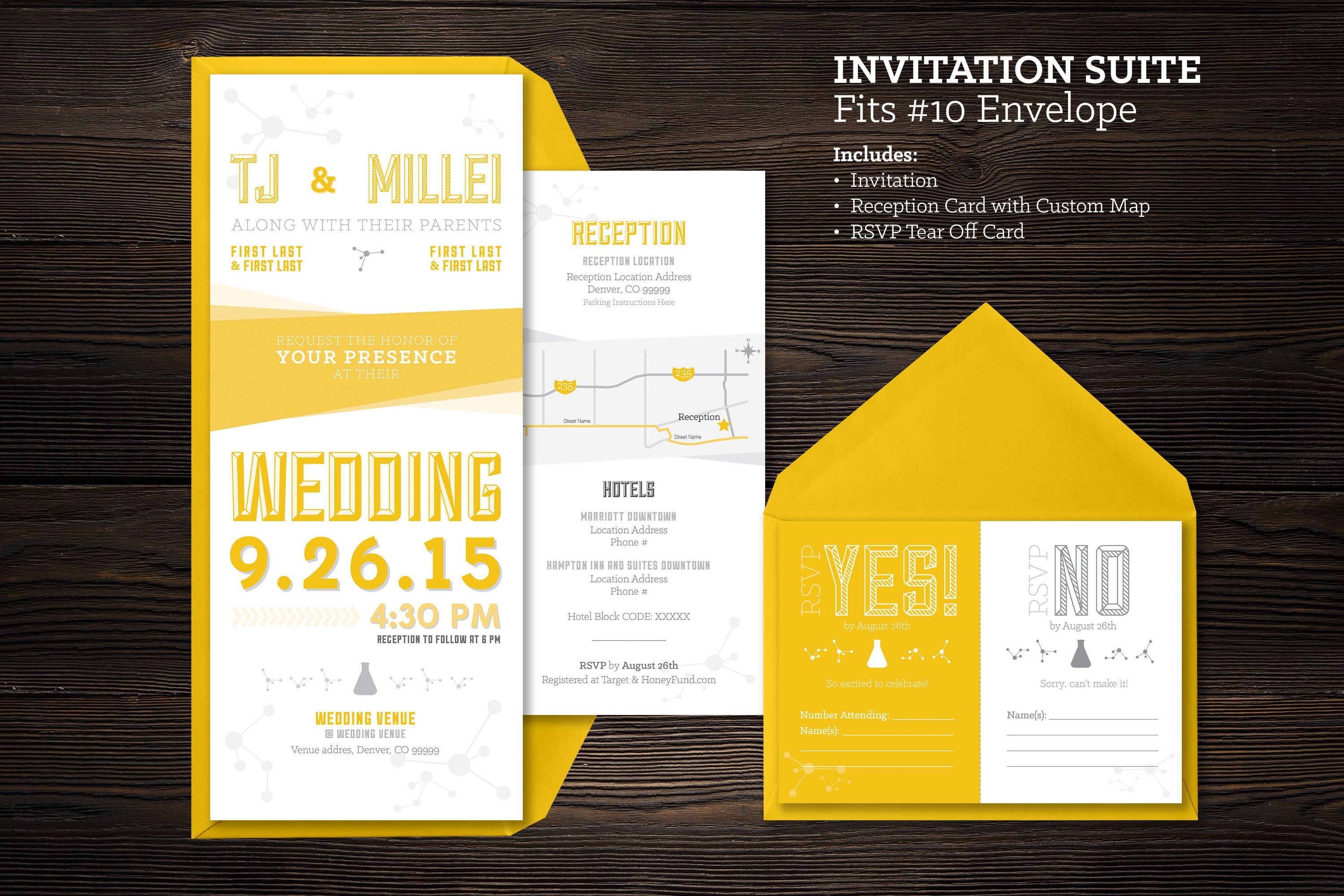 Vintage Chemistry Science Printable Wedding Invitation