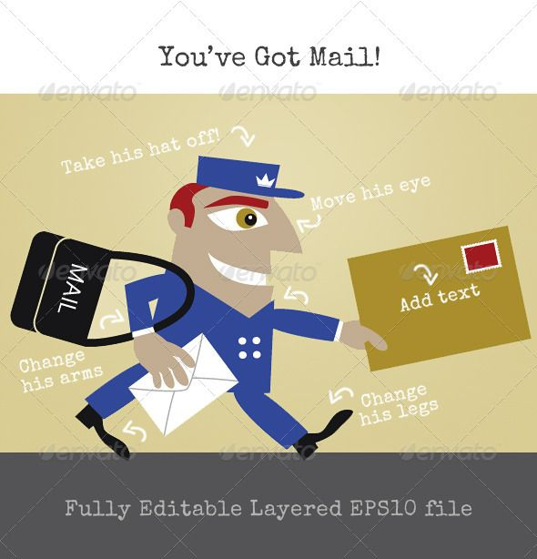 The Mailman or Postman Delivering the Letters  #GraphicRiver         A happy and diligent postman or mailman is making sure the letters and parcels get to their destination on tim. He is wearing a blue uniform and cap, but you can easily change the color and the shape if you like. Change everything to your own specifications in this fully layered and labeled EPS10 file. (I have included the AI file for extra convenience too.)     Created: 13November12 GraphicsFilesIncluded: VectorEPS…