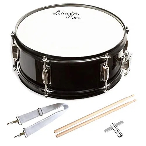 Snare Drum Set Student Steel Shell 14 X 5.5 Inches with 10 Lugs, Includes Drum Key, Drumsticks and Strap