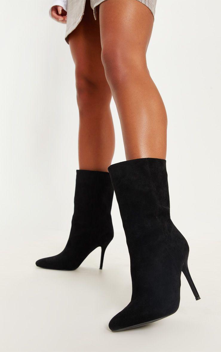 Black Mid Heel Ankle Boot   Black mid