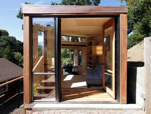 Prefab backyard home office designed by students at for Prefab garden office