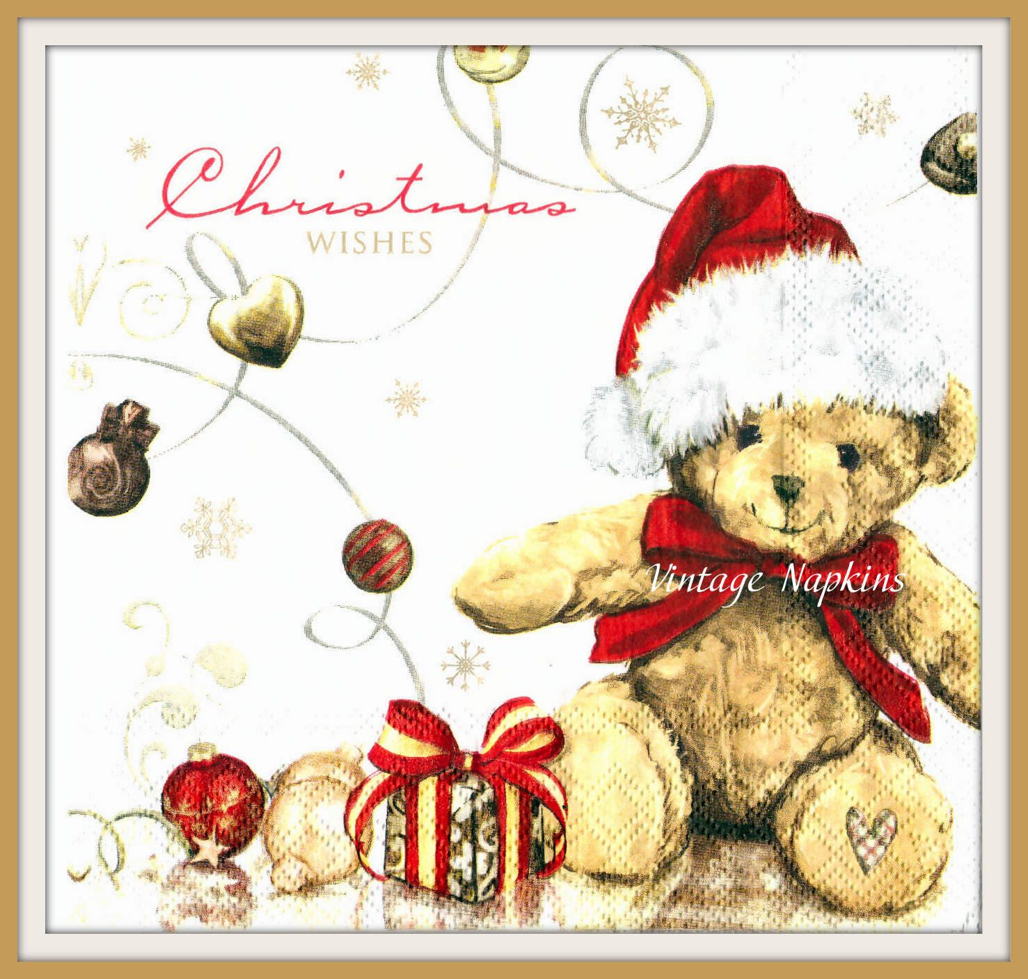 winter,Teddy bear gift Xmas -X97 Christmas 4 Single paper decoupage napkins