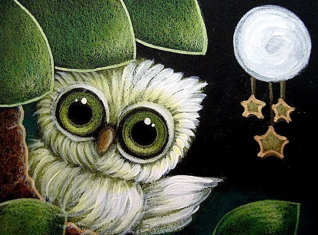 Google Image Result for http://www.ebsqart.com/Art/Gallery/Media-Style/721662/650/650/TINY-GREEN-OWL-STARS-HANGING-FROM-THE-MOON.jpg