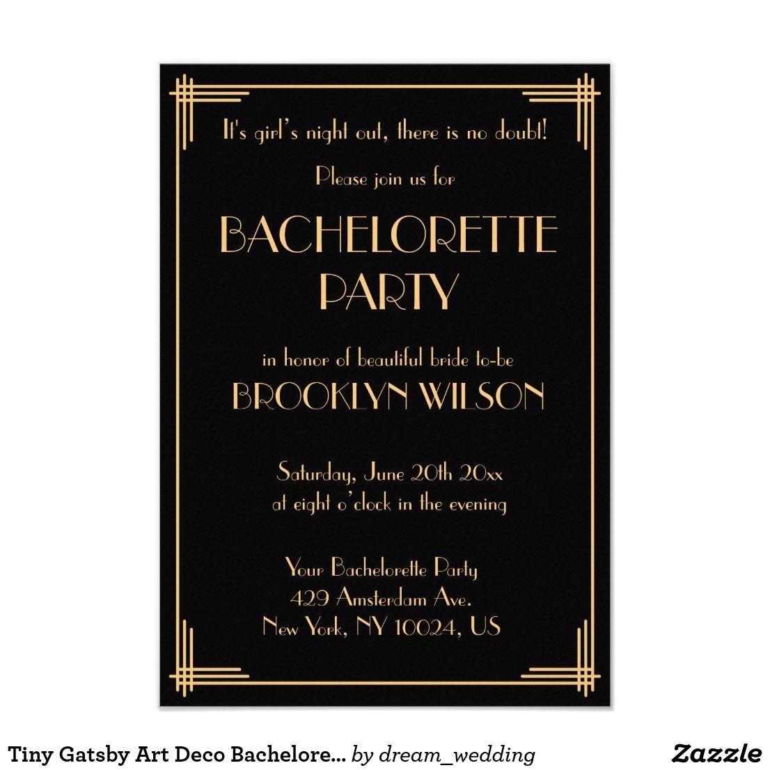 Tiny Gatsby Art Deco Bachelorette Party Invite | Zazzle.com | Deco wedding  invitations, Bachelorette party invitations, Art deco wedding invitations
