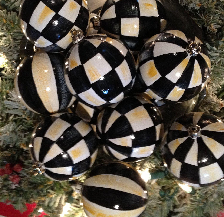 Hand Painted Black White Check Christmas Ornaments White Christmas Decor White Christmas Black White Christmas