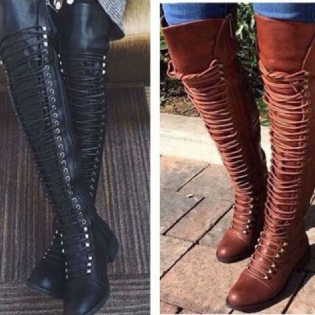 55a71deb725 Women Over The Knee Lace Up Bandage Thigh High Combat Low Heel Boots Flat  Shoes