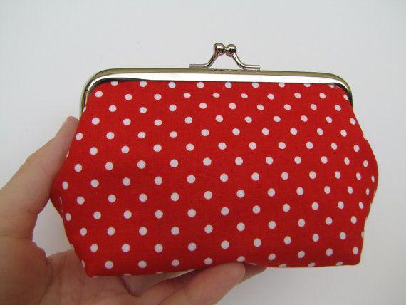 Red polka dots metal frame purse coin purse kiss by blackbirdbag