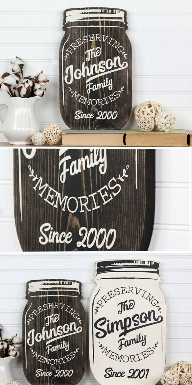Personalized Mason Jar Shape Wood Cutout Sign Wall Art Farmhouse