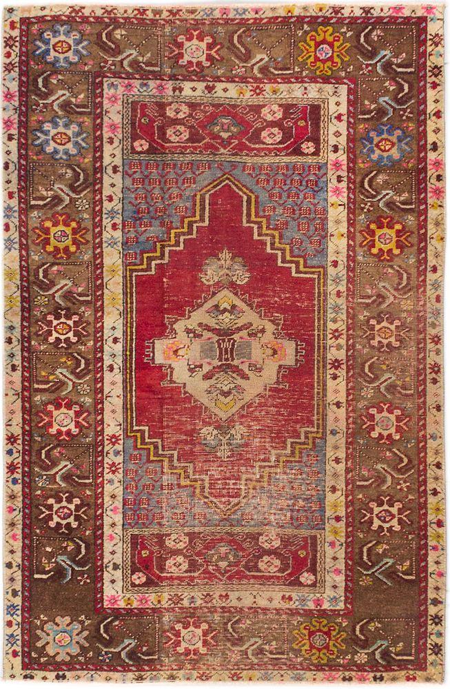 "Turkish 3'5"" x 5'3"" Anatolian Vintage Rug #Turkish"