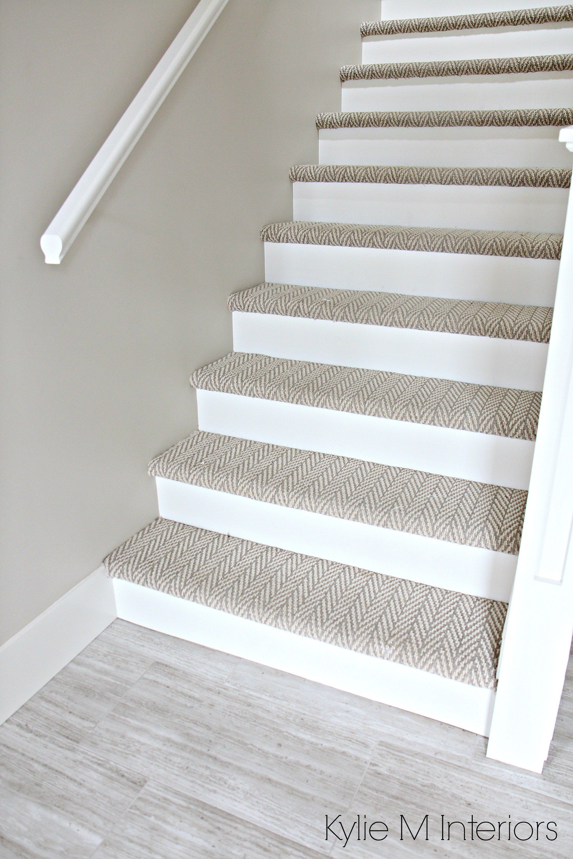 Stairs With Carpet Herringbone Treads And Painted White Risers, Looks Like  A Runner. Benjamin Moore Edgecomb Gray On Stairwell Wall.
