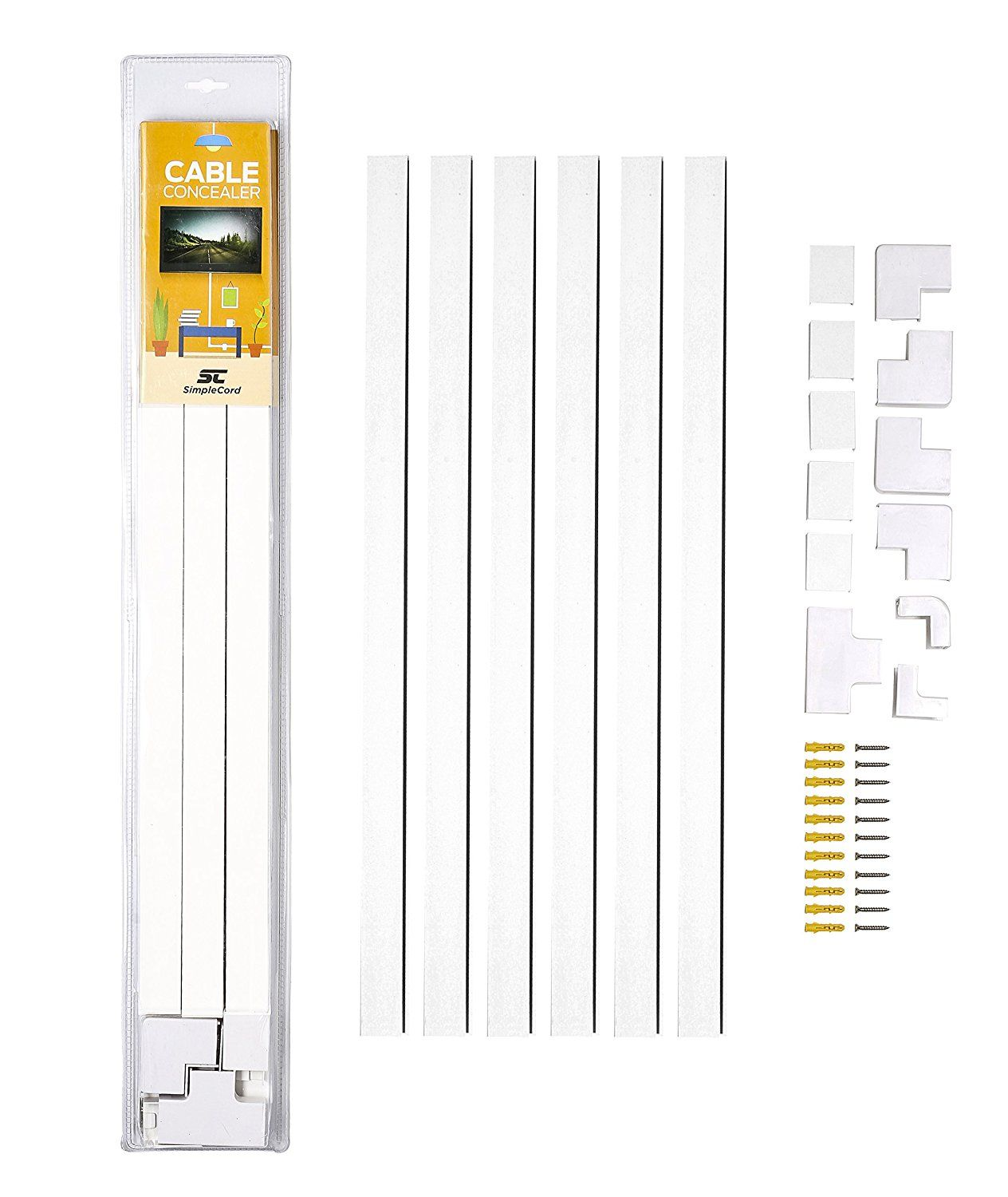Cable Concealer On-Wall Cord Cover Raceway Kit Hide Wire Cables Organizer System