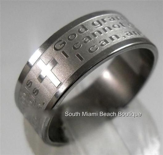 Serenity Prayer Ring Band Silver Stainless Steel Aa Na Al Anon Recovery Usseller Serenity Serenityprayer A Serenity Prayer Ring Serenity Prayer Prayer Ring