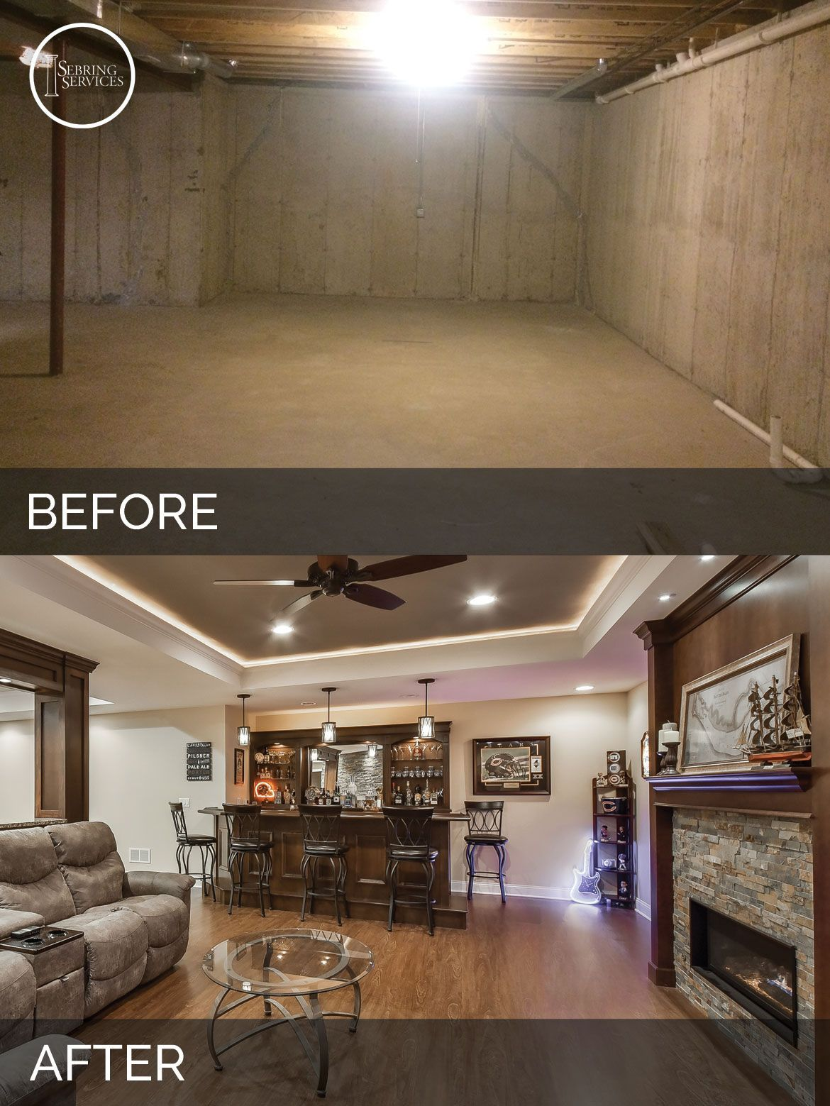 Bolingbrook Before U0026 After Basement Finish Project   Sebring Services # Basement Bar
