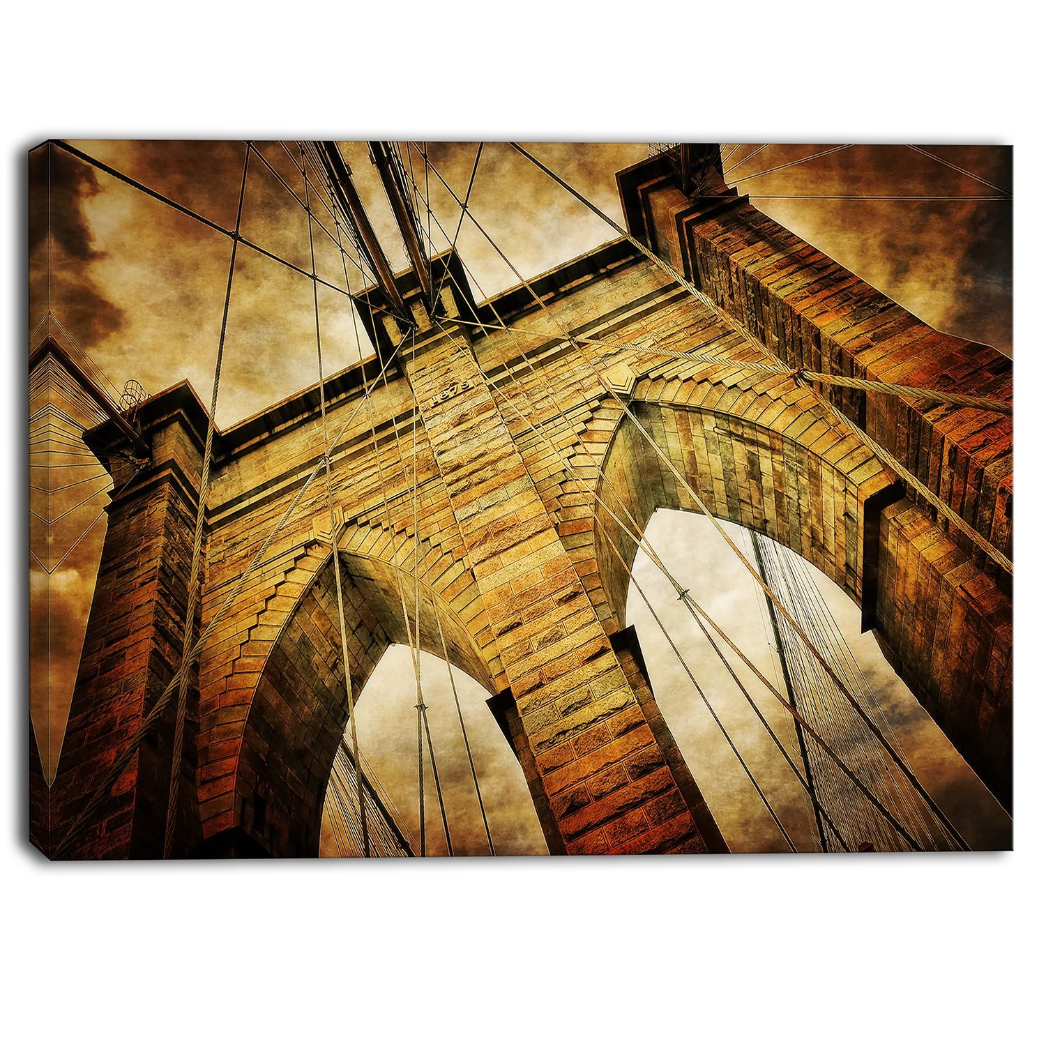 Designart - Vintage Brooklyn Bridge - Contemporary Art Print ...