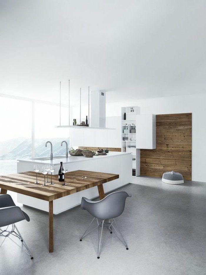 Küche modern gestalten Kücheninsel mit eingebautem Esstisch
