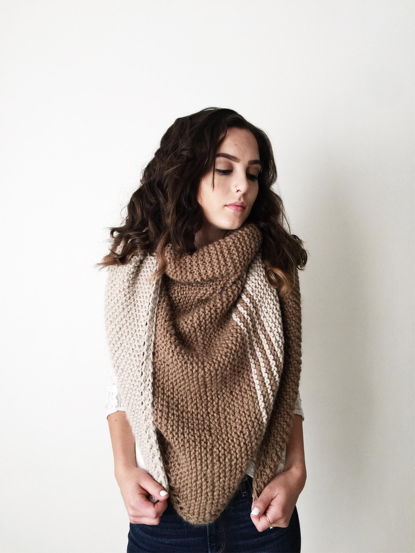Beginner Knitting Shawl Pattern Color Block Scarf Easy ...