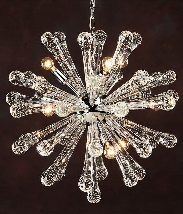 Murano glass chandelier; Six-light chandelier made of 169 individual pieces of hand-blown clear Venetian glass; modern murano glass cchandelier