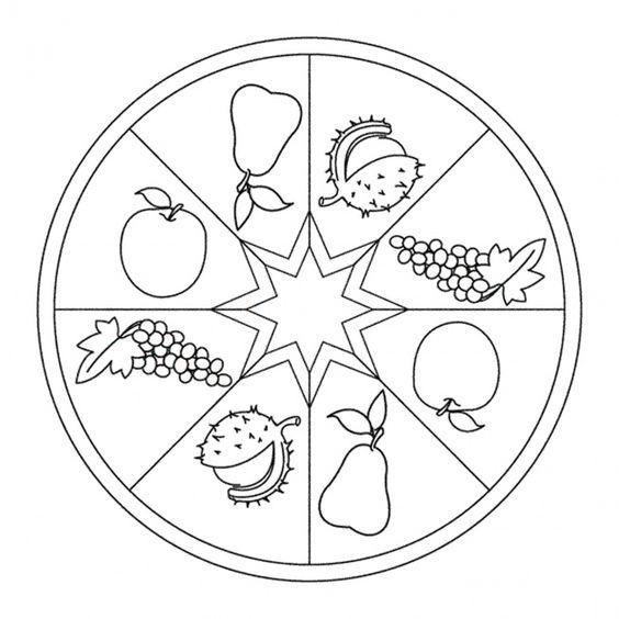 Mandala Herbstfruchte Mandala Herbst Herbst Im Kindergarten Ausmalen