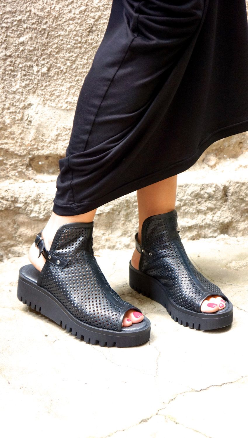 a72a10904b00a NEW Collection SS Black Genuine Leather Low Wedges Summer Sandals ...