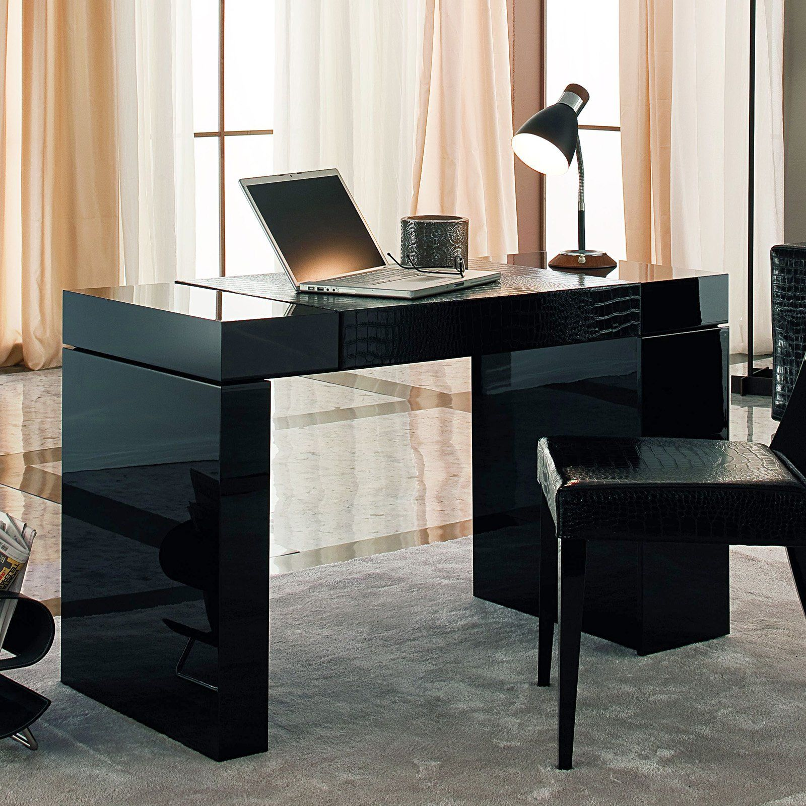 Black Home Office Furniture beading room nightfly writing/laptop desk - black $2589.99 | for