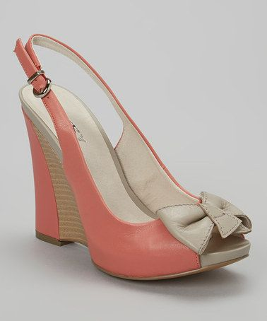 Look what I found on #zulily! Light Coral & Beige Bow Peep-Toe Leather Slingback #zulilyfinds