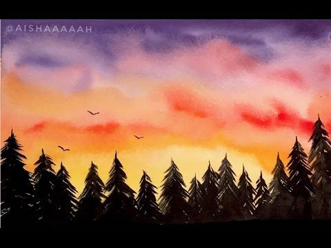Simple Watercolor Sunset Forest Tutorial Youtube Watercolor