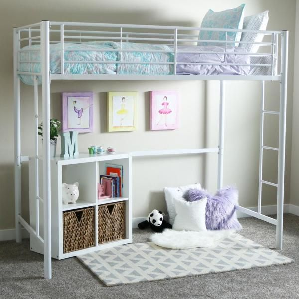 Walker Edison Furniture Company Premium Contemporarytransitional Metal Twin Loft Bed White Btolwh The Home Depot In 2020 Loft Beds For Teens Twin Loft Bed Girls Loft Bed