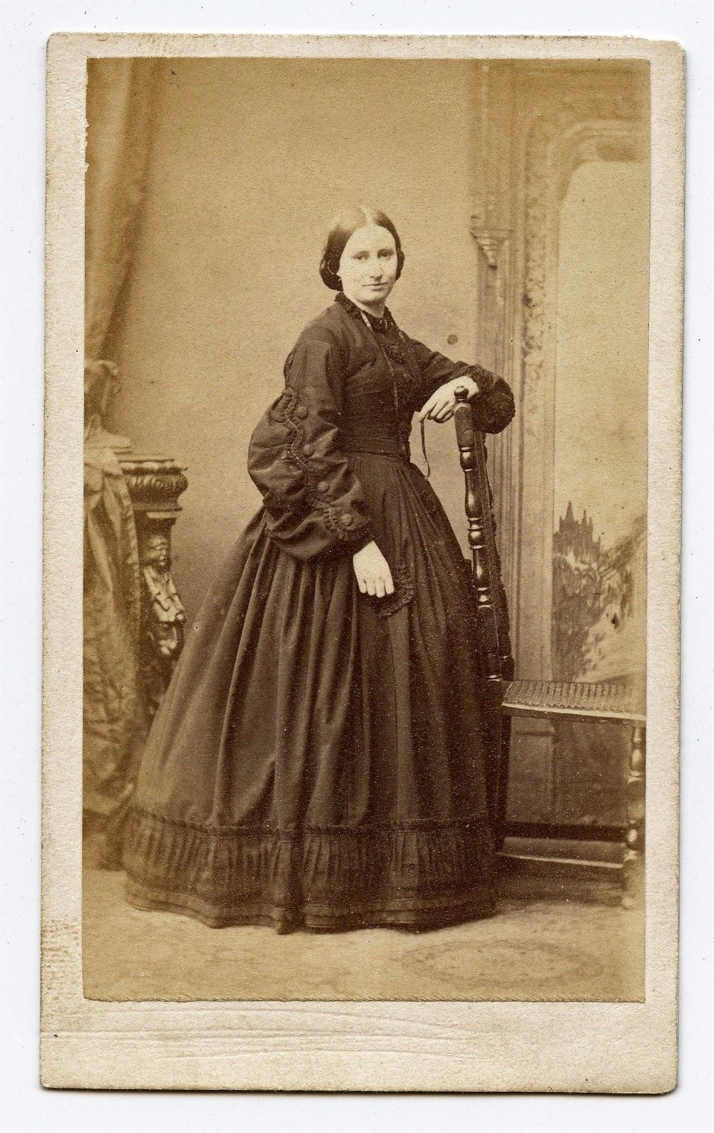 Victorian Woman In Dark Dress, Cdv Photo By Sarony  Co -9932