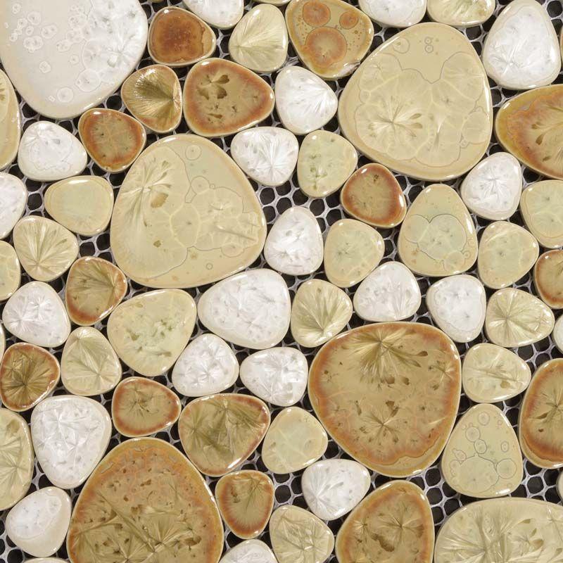 Heart Shaped Mosaic Art Collection Mixed Porcelain Pebble Tile Sheets Bathroom Mirror Wall Tiles