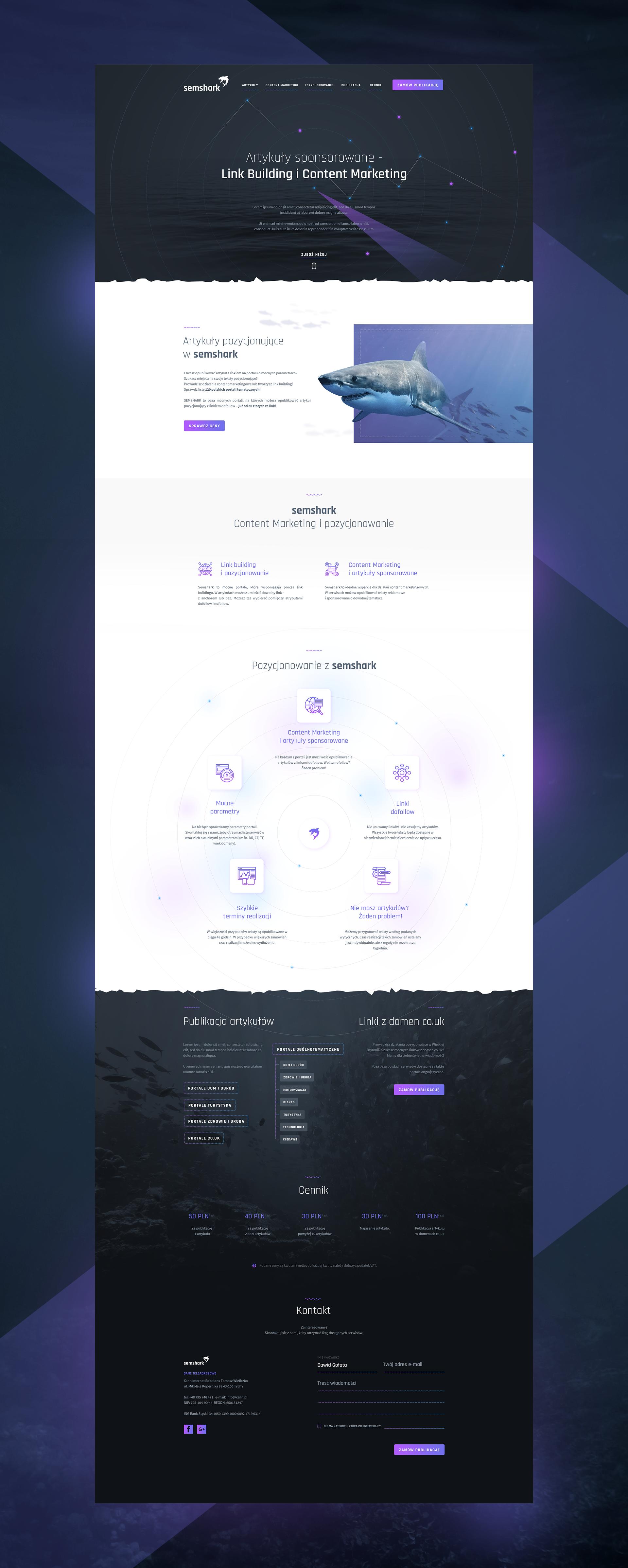 Shark Sem Landing Big Web Design Trends Web App Design Web Application Design