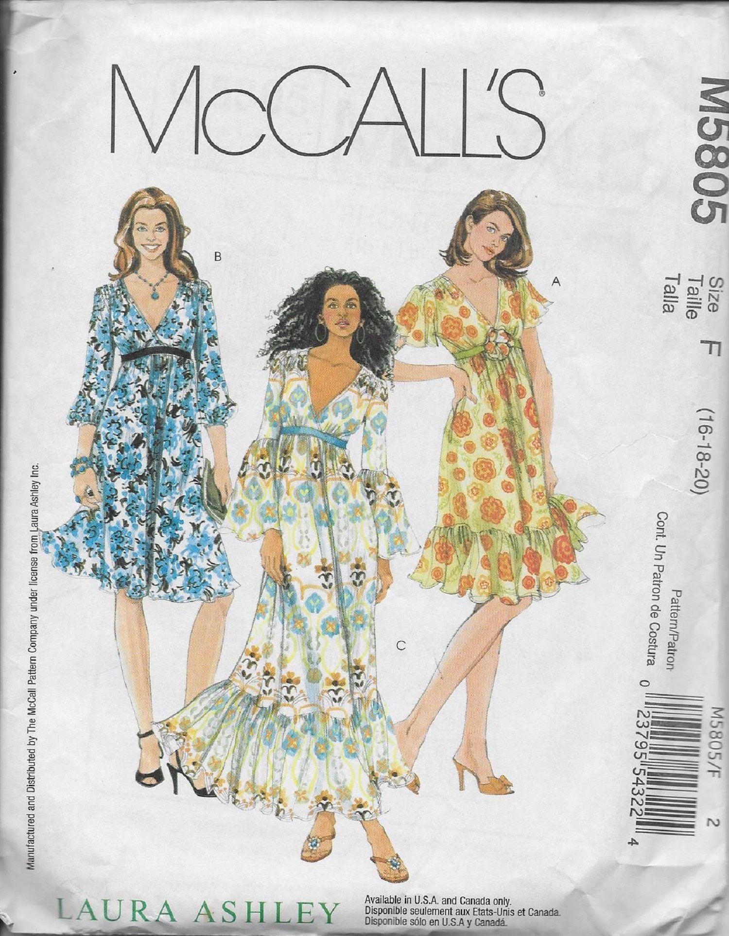 Mccall S 5805 Laura Ashley Lined Boho Dresses Sewing Pattern Size 16 20 Uncut Mccalls Sewing Patterns Summer Dress Sewing Patterns Plus Size Bohemian Dresses [ 1925 x 1500 Pixel ]