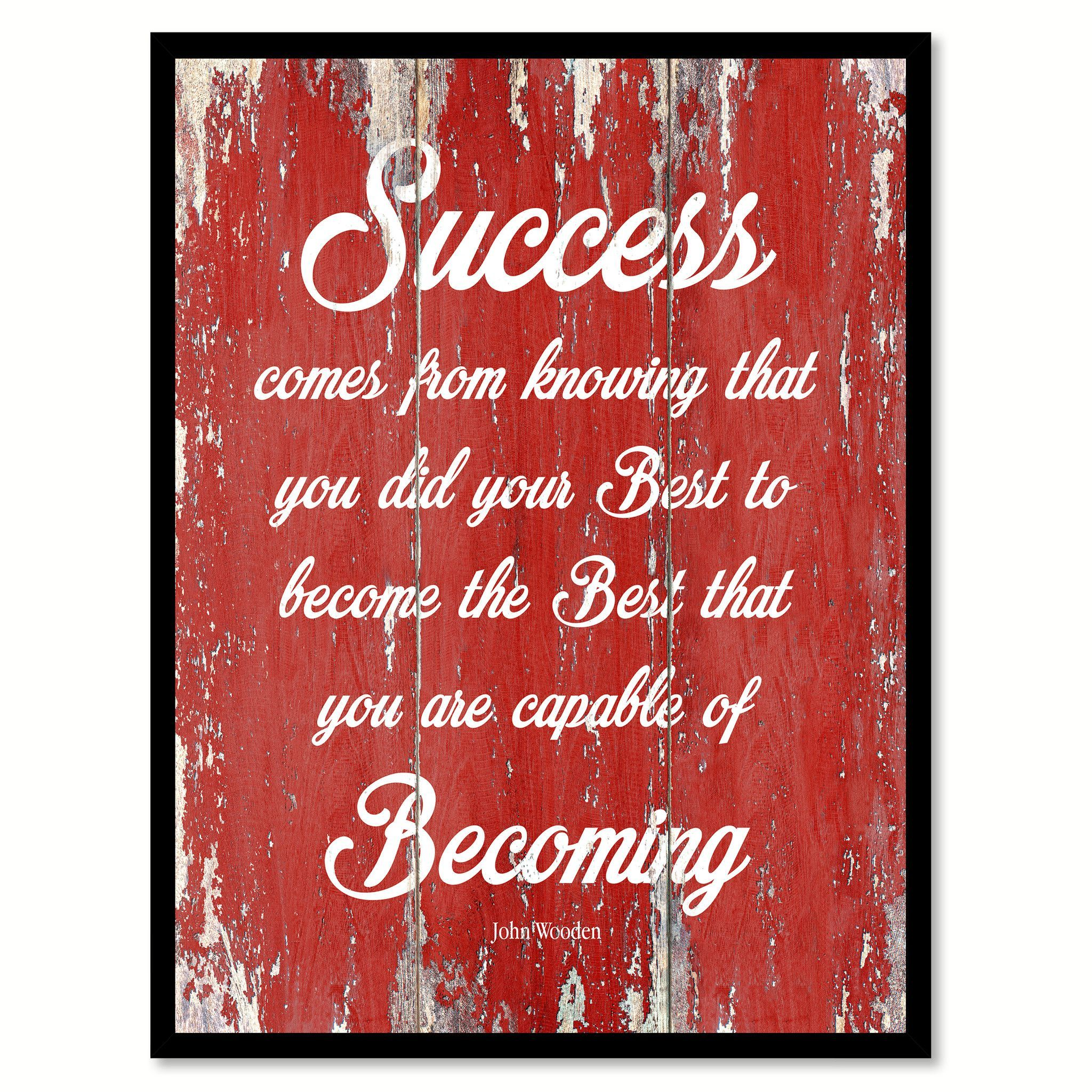 Success Comes From Knowing John Wooden Inspirational Quote