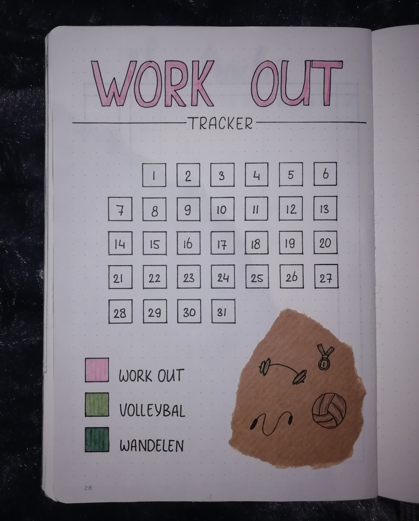 Workout tracker #augustbulletjournal