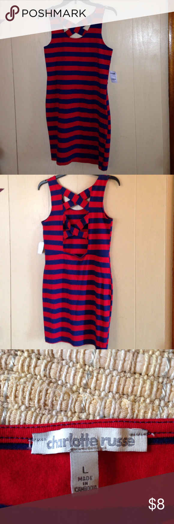 Charlotte Russe mini dress/ long summer shirt😊 Super cute item, NWT, is unfortunately too small for me😕, 95% cotton, 5% spandex so there's some stretch in it! Charlotte Russe Dresses Mini