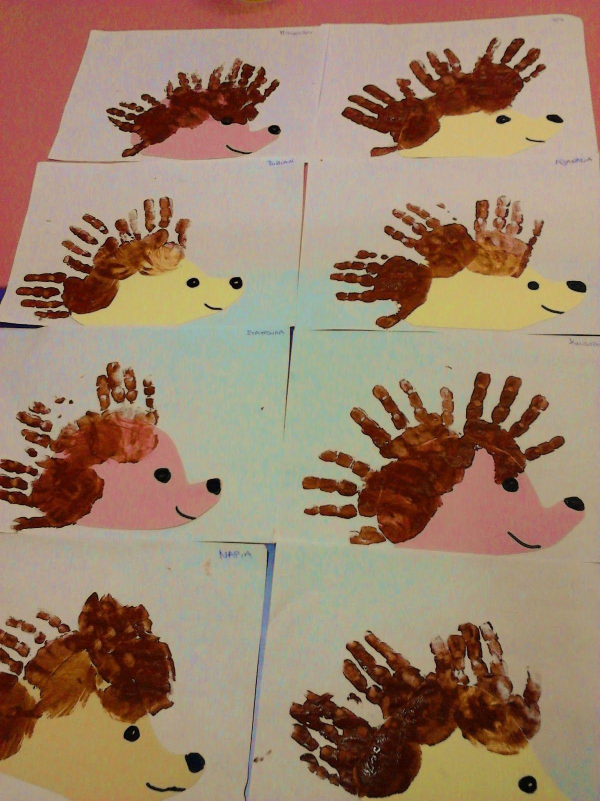 Handprint hedgehogs … | Pinteres…