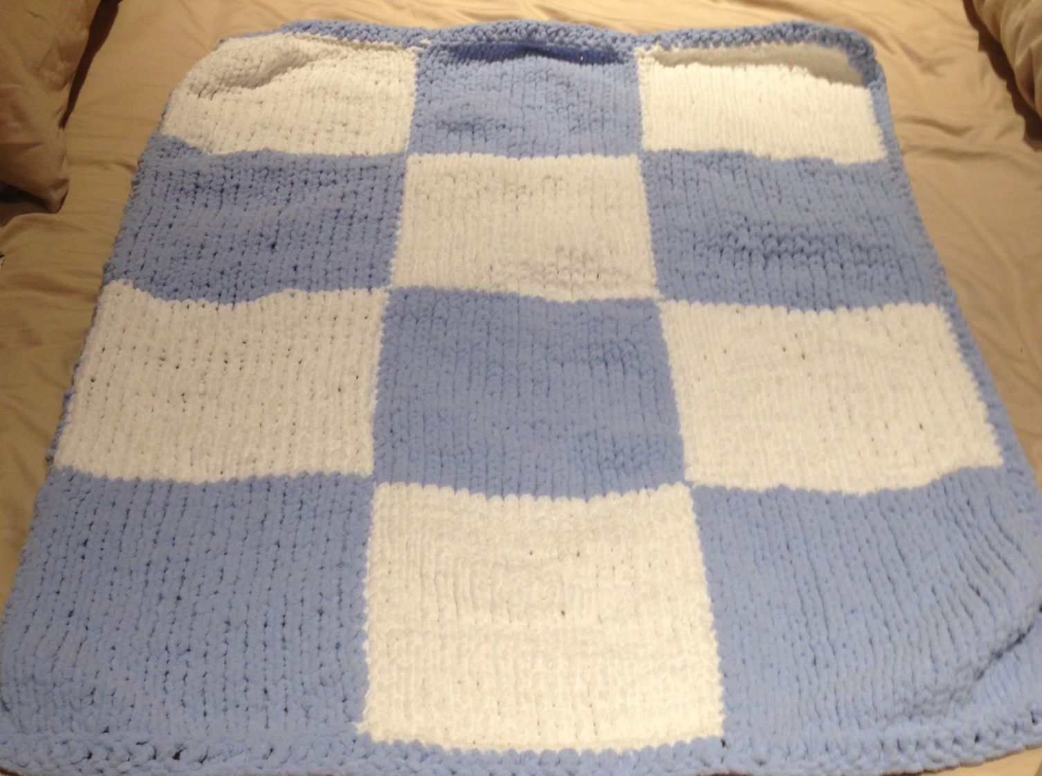 Baby Boy White And Blue Checkered Knit Blanket Made With