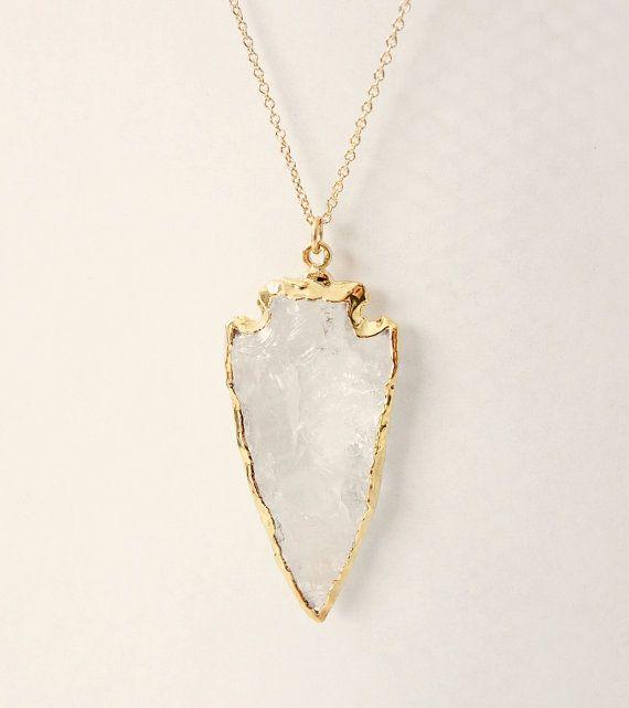 Crystal Quartz Arrowhead Pendant