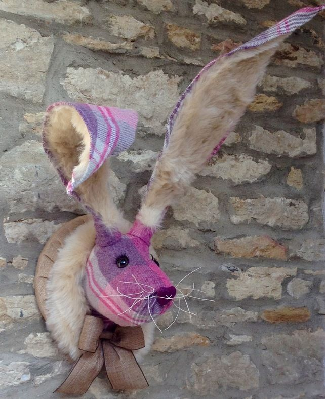 Faux Taxidermy Pink Purple Bunny Hare Rabbit Wall Mounted Animal Head