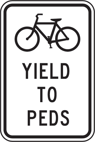 Bicycles Yield To Pedestrians Sign T5690 Pedestrian Sign Traffic Signs And Symbols Signs