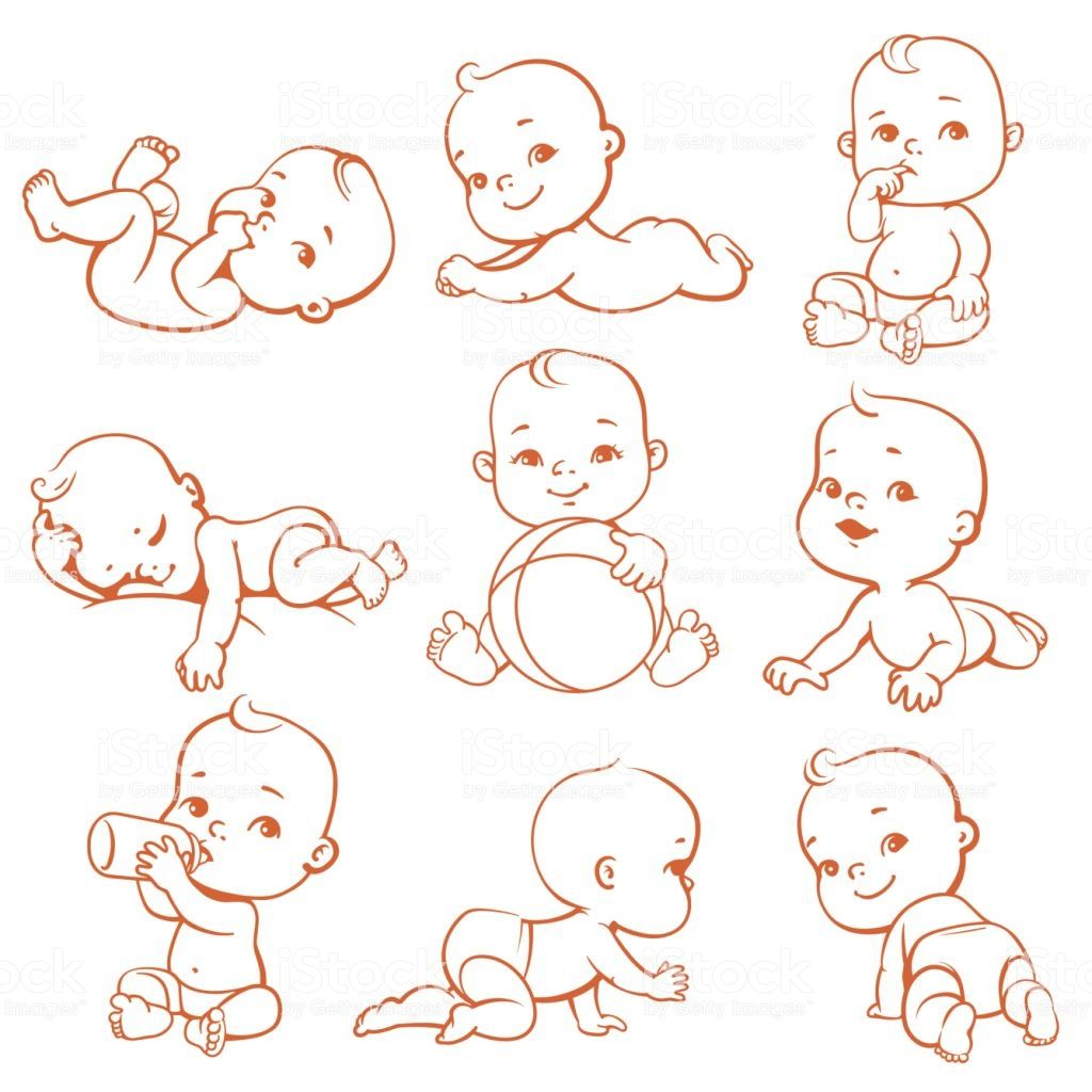Cute Little Baby Girl Or Boy In Diaper Child In Different Baby Illustration Baby Cartoon Drawing Baby Girl Drawing
