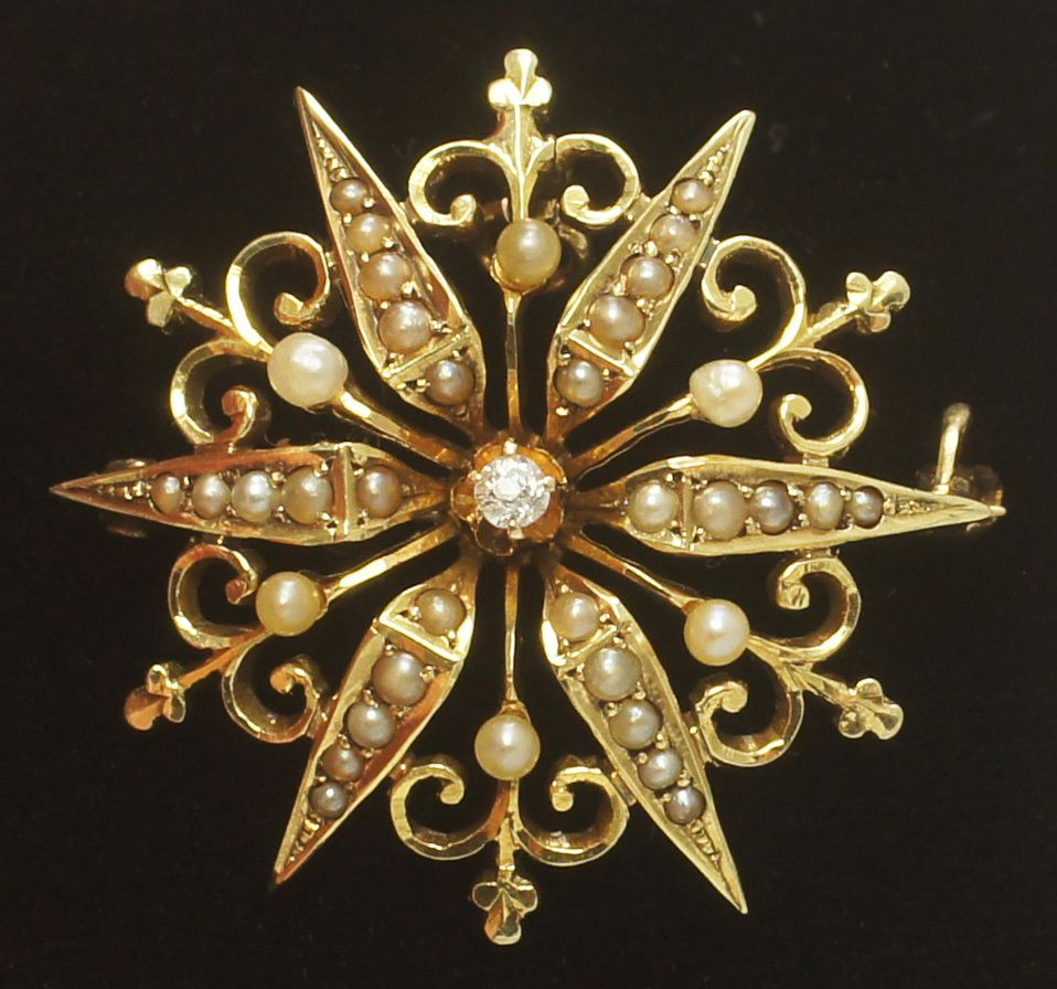 Antique Victorian 14k Gold Pearl Diamond Star Starburst Fleur de Lis Brooch Pendant