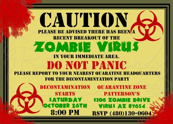 Zombie Birthday Invitation Printable Digital Zombie Apocolypse