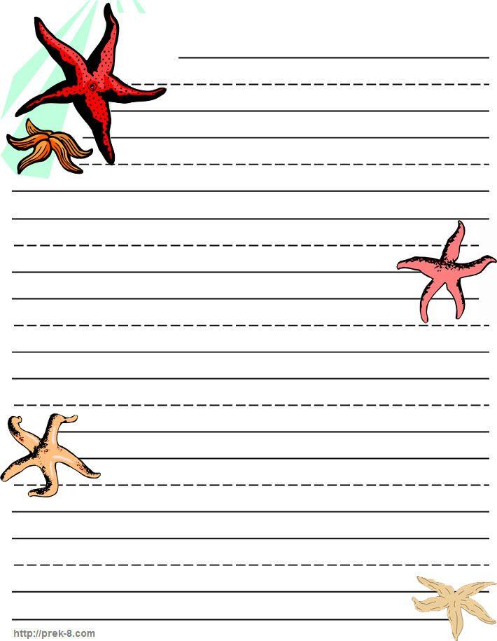 Sea starfish Writing paper, stationery, free printable kids
